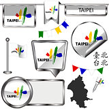 Glossy icons with flag of Taipei, Taiwan
