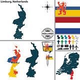 Map of Limburg, Netherlands