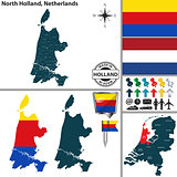 Map of North Holland, Netherlands