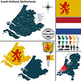 Map of South Holland, Netherlands