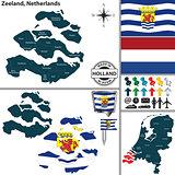 Map of Zeeland, Netherlands