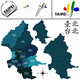 Map of Taipei, Taiwan with Districts
