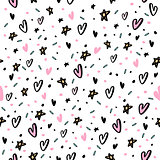 Hand drawn seamless pattern with hearts and star