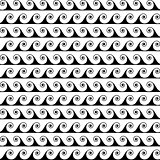 Black waves lines seamless vector greek pattern.