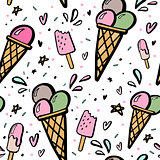 Background with hand drawn illustrations of ice cream.