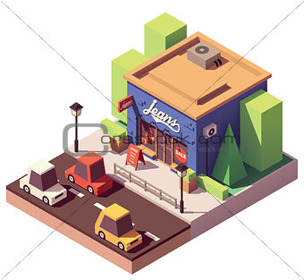 Vector isometric jeans clothes store