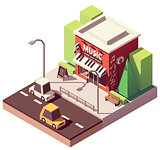 Vector isometric musical instrument store