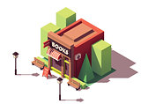 Vector isometric bookshop