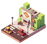 Vector isometric milk shop