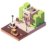 Vector isometric flower shop