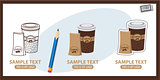Icons depicting travel mugs and coffee