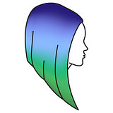 Girl with colored hair, woman head with colorful hair style, multicolor treated hair concept, vector illustration
