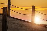 wooden pier at beautiful sunset