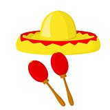 Sombrero and maracas - symbols of mexico