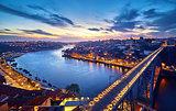 Porto, Portugal. Evening sunset panoramic view