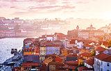 Antique town Porto Portugal. Sunset sun
