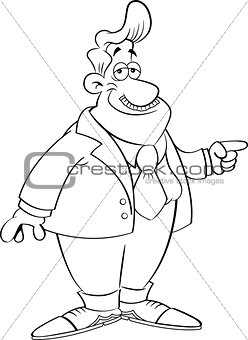 Cartoon Man in a Suit Pointing
