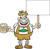 Cartoon Man Holding a Beer and a Sign