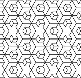 Seamless geometric hexagons pattern. 3D illusion.