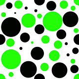 Green and black dot, seamless pattern, textile texture, wallpaper and background .Vector illustration.