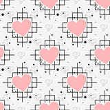 Red heart and line seamless pattern on white background