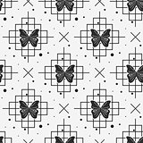 Black butterfly and line seamless pattern on white background