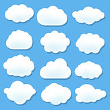 Cloud Icons With Blue Background