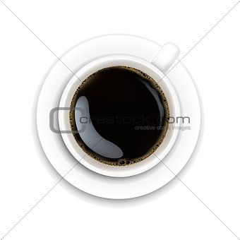 Cup With Coffee And Plate White Background