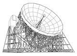 Radio Telescope concept outline. Vector