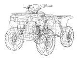 ATV quadbike concept outline. Vector