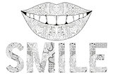 Word smile with silhouette of lips. Vector decorative zentangle object