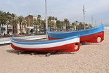 Boats on the beach of Badalona Barcelona