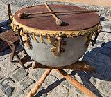 Old Ukrainian ethnic Cossack drum close-up
