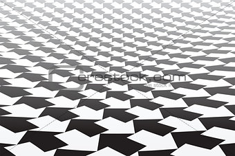 Black and white arrows pattern. Diminishing perspective.