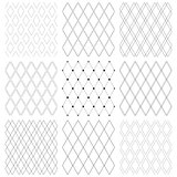 Seamless diamonds patterns. Geometric latticed textures.