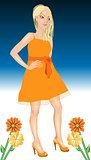 White Woman Orange Dress