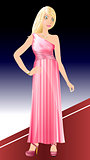 White Woman Pink Dress