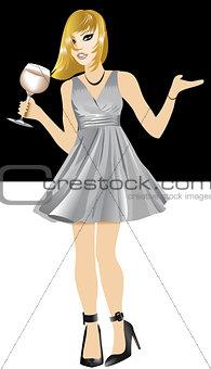 White Woman Silver Dress