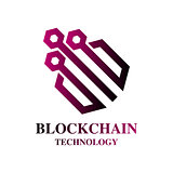 Blockchain Cryptocurrency Logo. Modern computer network technology sign. Digital graphic symbol. Concept design element