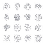 Artificial Intelligence, AI icon set.