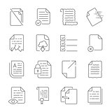 Simple set of vector icons for flow control of documents. Contains icons such as a manuscript, a corrupted file, a scroll, a crumpled document, cloud storage and more.
