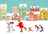 Santa Claus with polar bear, penguin and bunny skating, illustration