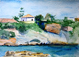 Watercolour painting of Crete in Greece with a while house and the sea