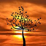 Abstract leafy tree on sunrise