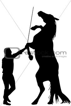 Black silhouette of man training a horse to rearing up