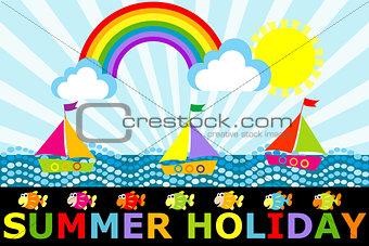 Fantasy cartoon seascape with boats and rainbow