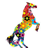 Horse on its hind legs with a colored floral pattern
