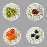 Berries and vegetables on curd. Collage