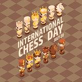 International Chess Day card. Isometric cartoon chess pieces.