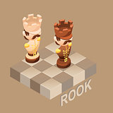 Isometric cartoon chess pieces Rook, Vector flat illustration.
